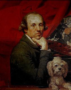 Johan zoffany. self portrait with dog, roma