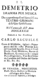 Johann Adolph Hasse - Demetrio - titlepage of the libretto - Venice 1732.png