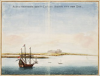 After the Portuguese, the Dutch, and then the French, took control of Arguin until abandoning it in 1685. Johannes Vingboons - Aldus verthoon hem 't casteel Argijn uyt der zee (1665).jpg
