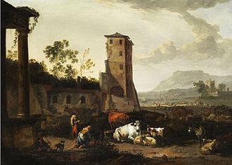 Johannes van der Bent - Italianate landscape by van der Bent.