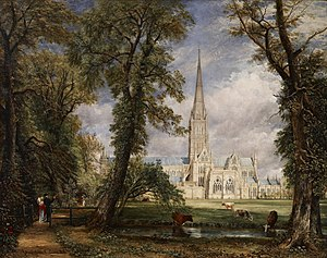 Salisbury Cathedral from the Bishop's Grounds c. 1825. As a gesture of appreciation for John Fisher, the Bishop of Salisbury, who commissioned this painting, Constable included the Bishop and his wife in the canvas. Their figures can be seen at the bottom left of the painting, behind the fence and under the shade of the trees. Frick Collection, New York City