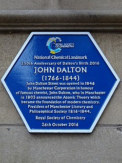 Photo of John Dalton plaque