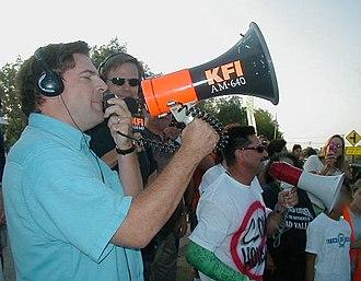 John and Ken - John Kobylt and his bullhorn – 2005 David Allyn Dokich protest