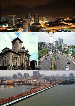 Clockwise from top left: Night view of Johor Bahru, Sultan Ibrahim Building, Tebrau Highway & Johor–Singapore Causeway