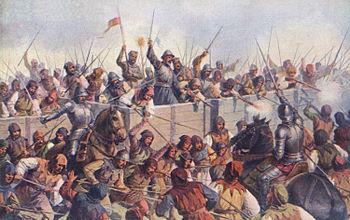Battle of Lipan, history painting by Josef Mathauser