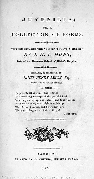 Juvenilia (poetry collection) - 1802 title page