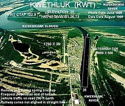 Aerial photograph of Kwethluk