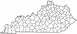 Location of Henderson within Kentucky.