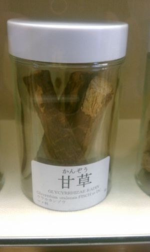 Phellodendron amurense - Plant as used in Chinese herbology. Note the pictured is a photo of Licorice Root/ GanCao, not Phellodendron. (crude medicine)