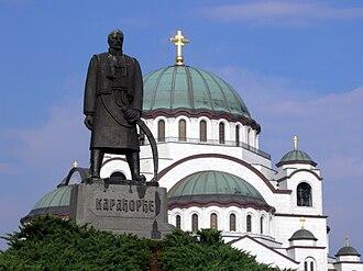 Architecture of Belgrade - Temple of Saint Sava and monument of Karađorđe
