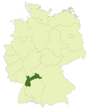 Baden Cup - Map of Germany: Position of North Baden highlighted