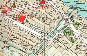 Berlin Görlitzer Bahnhof - A section of the 1902 Pharus Plan of Berlin showing Görlitzer Bahnhof and the eastern Kreuzberg environs