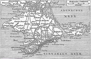 Crimea Germans - German map of Crimea, Meyers Konversations-Lexikon, 1888.