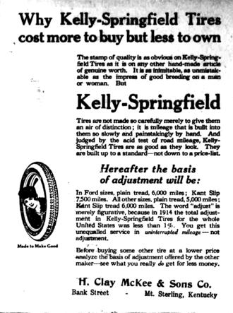 Kelly Springfield Tire Company - 1915 Kelly-Springfield tire ad, from a Kentucky newspaper.