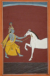 Painting showing a blue coloured man fighting a white horse.