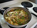 Kimchi Chiggae on the Stove (3585077254).jpg