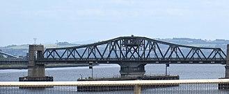 Kincardine Bridge - The bridge's no-longer-operable swing span, viewed from the new Clackmannanshire Bridge