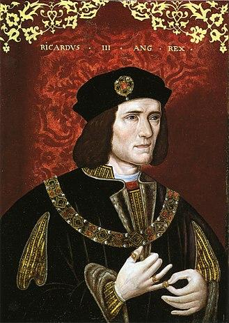 Exhumation and reburial of Richard III of England - Richard III, by an unknown artist, late 16th century. The raised right shoulder was a visible sign of Richard's spinal deformity.