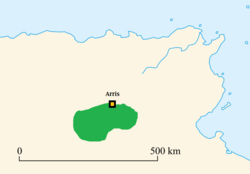 The approximate extent of the Kingdom of the Aurès around the time of the collapse of the Vandal Kingdom