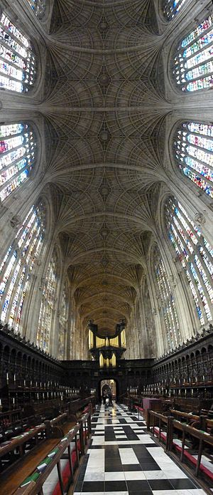 Fan vault - King's College Chapel, Cambridge, the world's largest fan vault, built from 1512 to 1515 by John Wastell, with William Vertue.