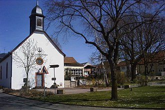 """Ober-Ramstadt - Church in Rohrbach, with the Waldensian Motto """"Lux lucet in tenebris"""" above the entrance"""
