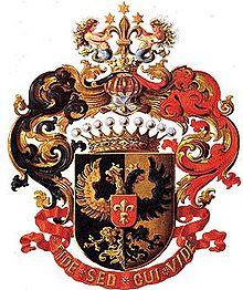 Gräfliches Wappen (1872) fürModest von Korff (Quelle: Wikimedia)