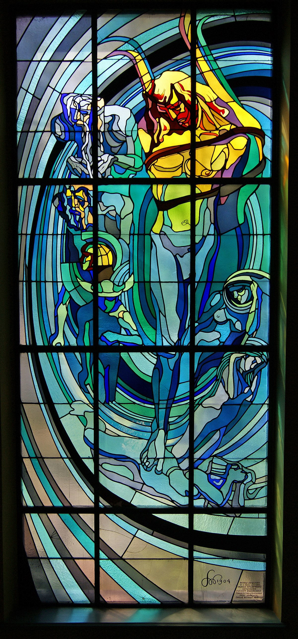 Krakow Medical Society house, Apollo-stained glass window design by Stanisław Wyspiański, 4 Radziwillowska street, Krakow, Poland.jpg