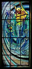 Krakow Medical Society house, Apollo-stained glass window design by Stanisław Wyspiański, 4 Radziwillowska street, Krakow, Poland.jpg