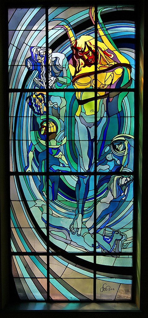 File krakow medical society house apollo stained glass for Window design art
