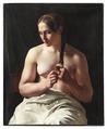 Kvinna som flätar sitt hår (Ludvig August Smith) - Nationalmuseum - 180226.tif