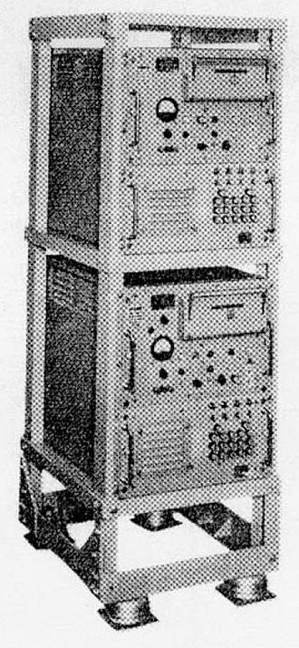 KW-26 - KW-26 model C; the receiver is at the top, the transmitter at the bottom. Card reader is in upper right of each unit.
