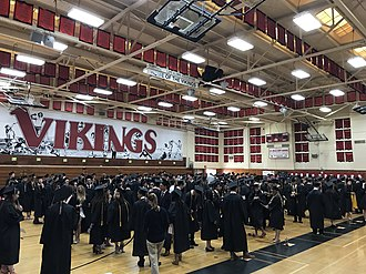 La Jolla High School - LJHS seniors line up for 2018 graduation in Big Gym