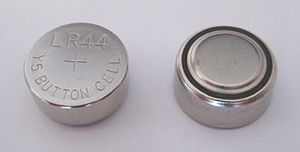 Button cell - LR44 alkaline cell.