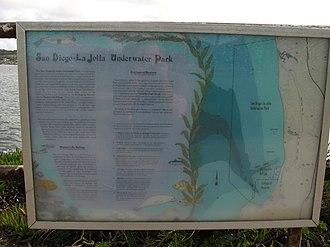 San Diego-La Jolla Underwater Park - San Diego-La Jolla Underwater Park information sign