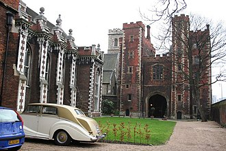 Lambeth Palace - The Great Hall, St Mary-at-Lambeth, and the Tudor gatehouse (from inside), with the river on the right.