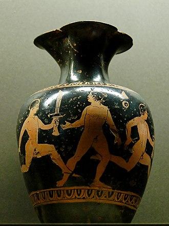 Oenochoe - Image: Lampadedromia Louvre N3357