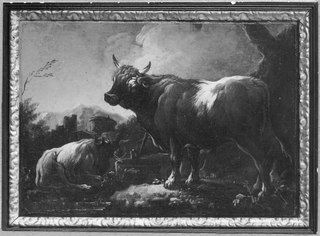 Landscape with a Bull and a Resting Cow