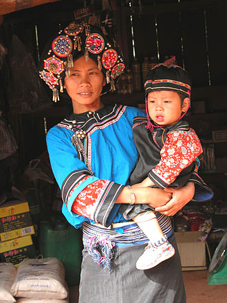 Hani people - A Ho (Hani) woman and her child in Laos, circa 2003.