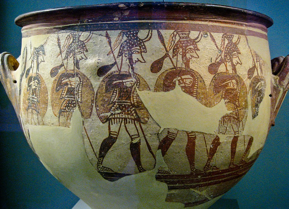 Large Krater with Armored Men Departing for Battle, Mycenae acropolis, 12th century BC (3402016857)