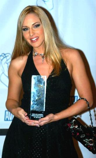 Lauren Phoenix - Lauren Phoenix holding her 2005 AVN Award for Female Performer of the Year...