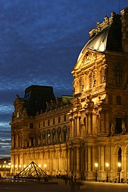 The Richelieu Wing of the Louvre at night