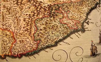 Menton - Menton, as part of Monaco, was the extreme western area of the Republic of Genoa (green color) in 1664.