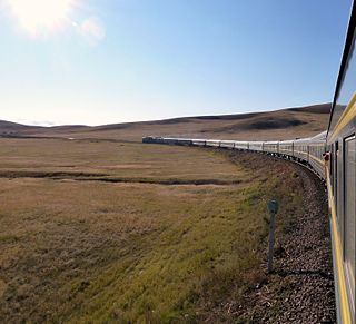 The Trans-Mongolian Railway in the Gobi Desert