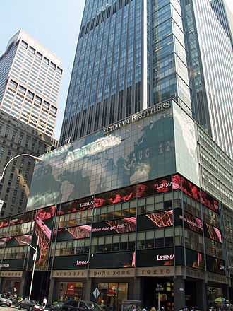 High-yield debt - The New York City headquarters of Barclays (formerly Lehman Brothers, as shown in the picture). In background, the AXA Center, headquarters of AXA, first worldwide insurance company.