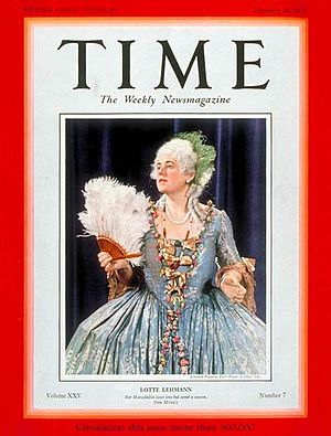 Lotte Lehmann - On the cover of ''Time'' magazine February 18, 1935