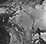 Lemon Creek Glacier, mountain glacier terminus, ice field, and hanging glaciers with bergschrund, August 24, 1963 (GLACIERS 6379).jpg