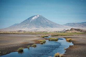 Lake Natron - Ol Doinyo Lengai seen from Lake Natron