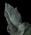 Les mains d'un apôtre dessin a la plume avec rehauts de blanc sur papier bleu.png