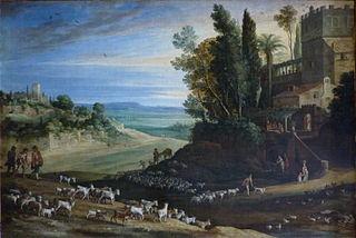 paysage avec les pèlerins d'Emmaüs