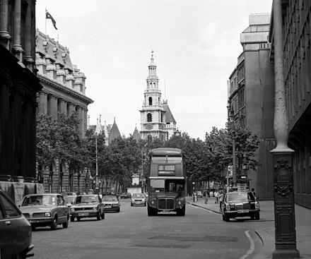 An AEC Routemaster on route 1 heading down the Strand in 1981, with St Clement Danes church in the background Let's all go down The Strand^ - geograph.org.uk - 610778.jpg